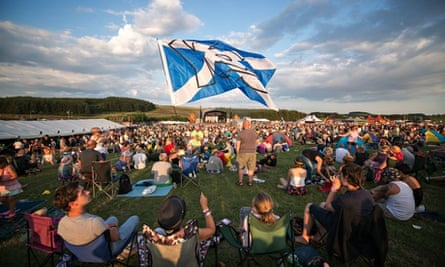 A pro-independence Scottish flag at the Wickerman music festival