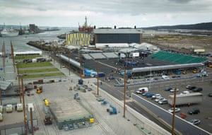 A general view of the temporary 16,000 seat venue built in the Titanic Quarter for the fight.