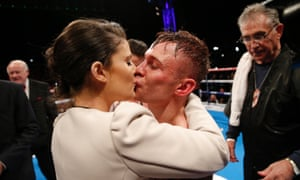 The new champion is rewarded with a kiss from wife Christine ...
