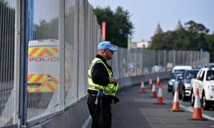 A security fence surrounding Cardiff Castle, where the Nato summit was held.