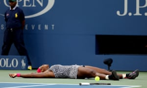 Serena Williams celebrates after winning her sixth Us Open and 18th grand slam title.