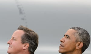 David Cameron and Barack Obama watching a flypast at last week's Nato summit. Cameron will make a statement to MPs about it this afternoon.
