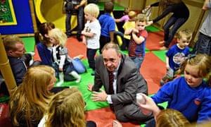Alex Salmond visits Time Twisters indoor activity park in Edinburgh