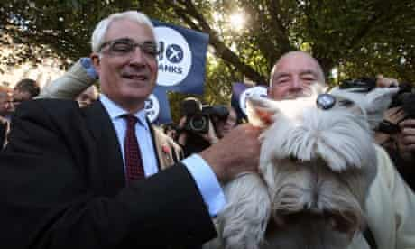 The Better Together leader Alistair Darling meets badge wearing voter whilst campaigning in Edinburgh for a No Vote in the Scottish Referendum