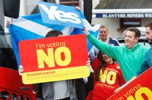 """Protesters greet Labour leader Ed Miliband in Blantyre. Yes campaign supporters shouted """"You are not welcome, Scotland is for the Scottish."""""""