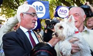 Better Together leader Alistair Darling campaigns in Stockbridge, Edinburgh, earlier today.