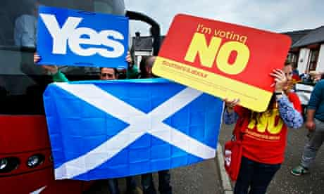 Yes and no campaigners in scottish referendum