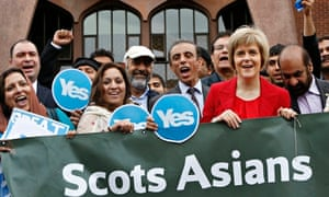 Nicola Sturgeon with worshippers outside Glasgow central mosque