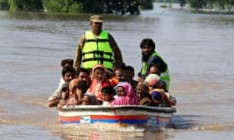 Rescuing villagers in Pakistan