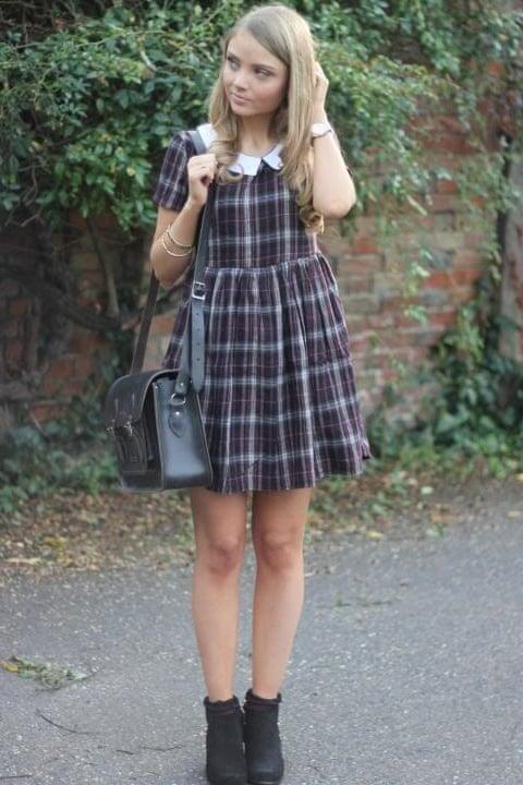 Phoebe Nickalls's checked dress