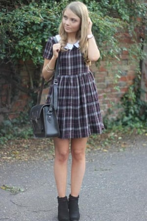 Phoebe Nickalls's checked dress