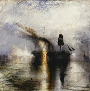 Burial at Sea, 1842 painted late in Turner's career when critics were suggesting that the painter wa
