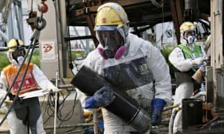 Workers constructing the Fukushima ice wall