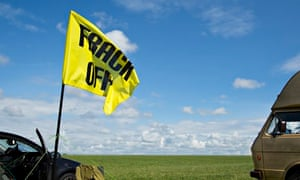 Anti-fracking campaigners near Westby, Lancashire.