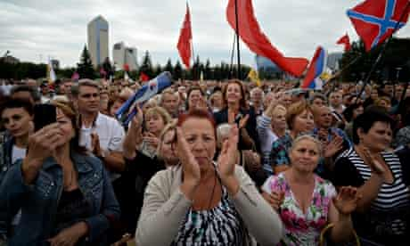 A rally in Donetsk to mark the liberation of the Donbass region from the Nazis in second world war