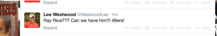 Lee Westwood tweet