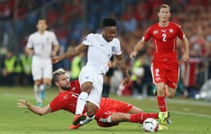 Valon Behrami is finding Raheem Sterling a handful and, not for the first time, brings him down.