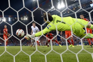 As half-time approaches, Yann Sommer makes a smart save from a Phil Jones header.