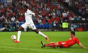Danny Welbeck gets on the end of Sterling's cross to score.