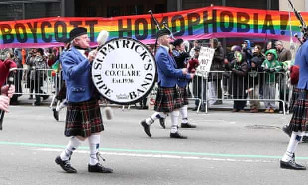 Pro-gay rights protest 2014 St Patrick's Day Parade in New York