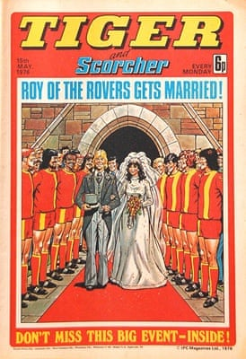 Roy of the Rovers gets married to Penny Laine in the   15 May 1976 issue of Tiger.