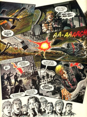 Roy Race lies unconscious in the wreckage of his crashed helicopter in the cliffhanger ending in the last ever issue of the weekly Roy of the Rovers magazine