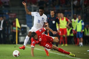 Sterling has improved during the second half. Here he fights for the ball with Ricardo Rodriguez.