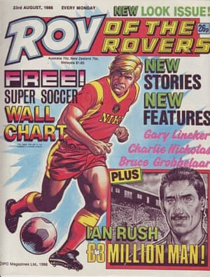 A new look for Roy of the Rovers magazine, and Roy Race in August 1986.