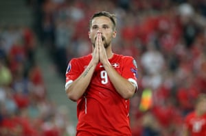 Haris Seferovic is disappointed after missing a chance.