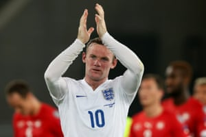 Wayne Rooney applauds the fans at the end of the game.