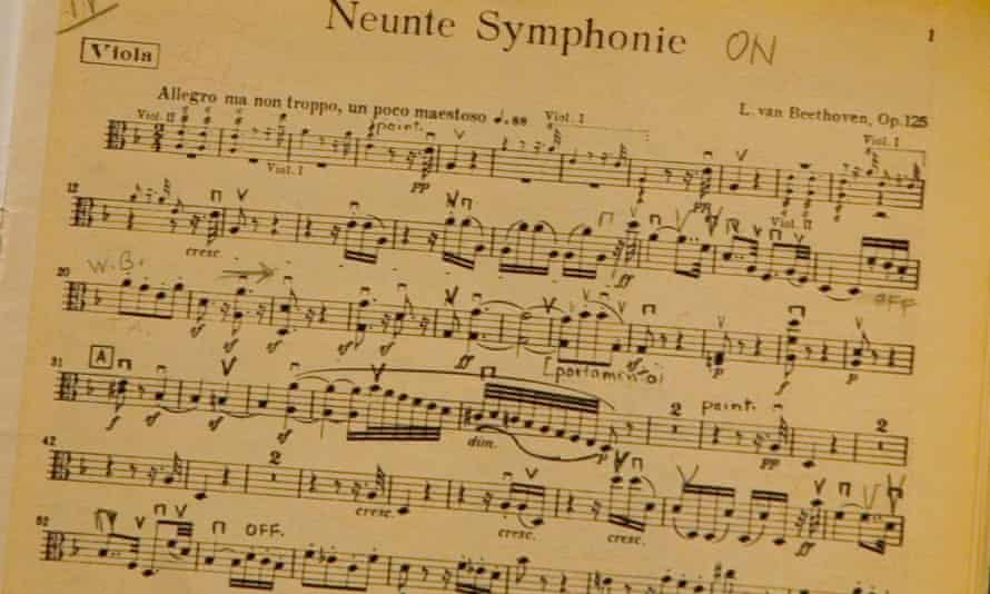 Detail of the viola part of the opening of Beethoven's 9th (choral) symphony.
