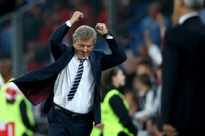 Roy Hodgson celebrates an important win. The pressure on him was mounting before the game but his team already look good to win the group.