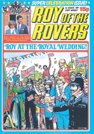 An August 1981 Super Celebration Issue of Roy of the Rovers showing Roy, Penny and family at the Royal Wedding.