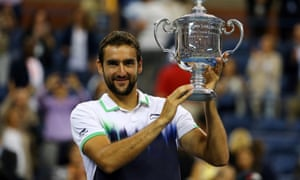 Marin Cilic celebrates beating Kei Nishikori to win the US Open after winning his last nine sets in the tournament. =