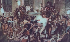 Painting of French revolutionary Maximilien Robespierre (1758-1794) during the French revolution.