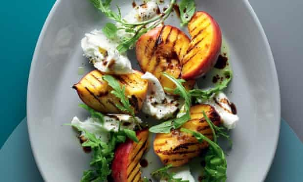 Grilled peach, burrata and basil salad with Dijon dressing.