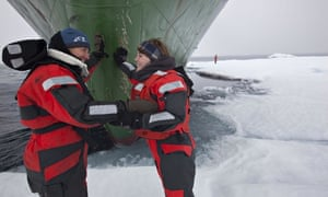 Emma Thompson and her daughter Gaia in the Arctic with Greenpeace