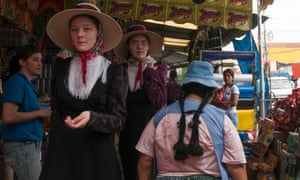 Mennonite women in the Los Pozos market in Santa Cruz de la Sierra. Several times a year the Mennonites need to visit the city to get the things they cannot produce in their colonies.