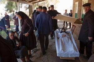 Mennonite funeral of Ana Derkzen, aged 82.