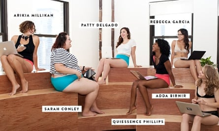 Women sitting in underwear with laptops and other mobile devices
