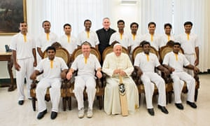 Priests and seminarians of the St Peter's cricket club with Pope Francis