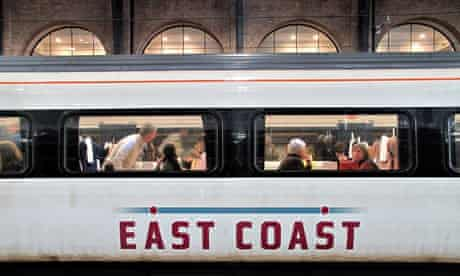 East Coast train at London's Kings Cross station.