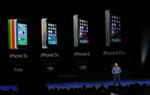 The 4.7in iPhone 6 and 5.5in iPhone 6 Plus sit alongside the the iPhone 5S and 5C, which will be available for a reduced cost.