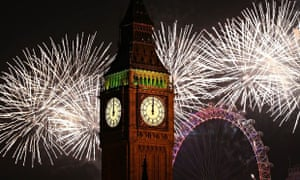 New Year's fireworks light up the London skyline and Big Ben just after midnight