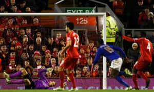 Jeffrey Schlupp equalises for Leicester City in the Premier League game against Liverpool.