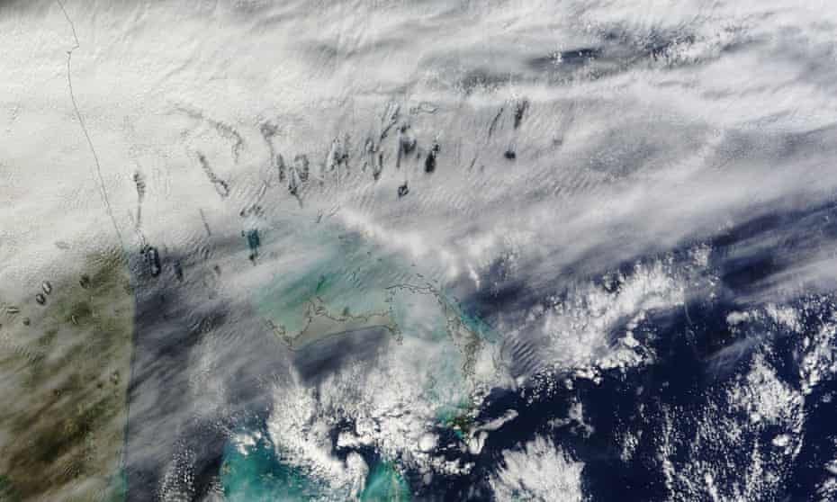 Hole punch clouds over the Bahamas