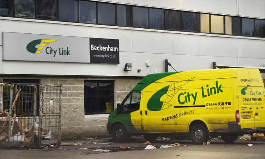 A van sits idle at a City Link depot in south London.