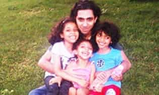 Raif Badawi with his children in a picture supplied to Amnesty.