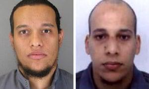 Brothers Said Kouachi, aged 34, (L) and Cherif Kouachi, aged 32.
