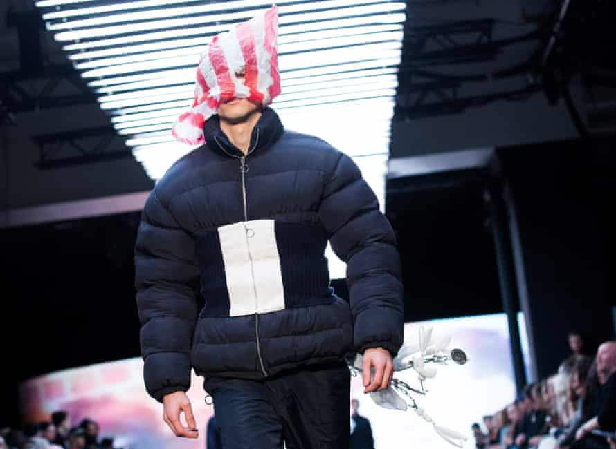 A model in a puffa at Christopher Shannon